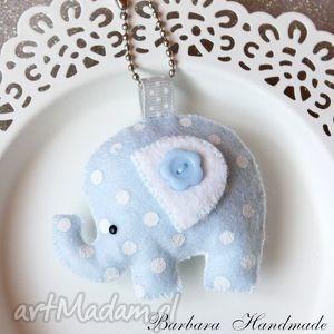 breloki słonik w groszki-błękitny, słoń, słonik, breloczek, pastele, prezent, filc