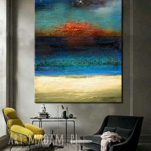 morska struktura - abstrakcyjne obrazy do modnego salonu, dekoracja