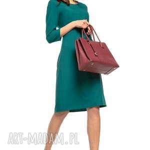 Taliowana sukienka z tkaniny rękawem 3/4, T265, zielony, wyjątkowo, elegancka