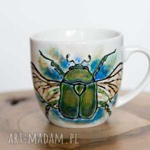 kubek malowany chrząszcz, prezent dla biologa, miłośnik przyrody