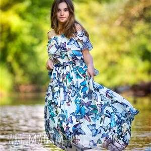 Maxi sukienka w stylu hiszpanki motyle roz od XS do XL, maxi, hiszpanka,
