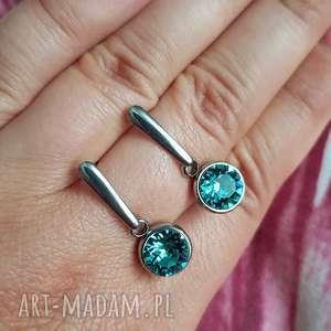 kolczyki crystals light turquoise, kolczyki, kryształki, swarovski, stal