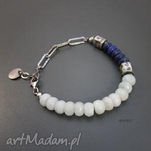 irart akwamaryn z lapis lazuli gniecionymi walcami, lapis, srebro, akwamaryn
