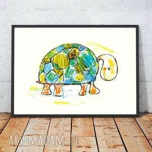 Plakatz żółwiem,żółw obrazek do dziecięcego pokoju,plakat pokoju chłopca
