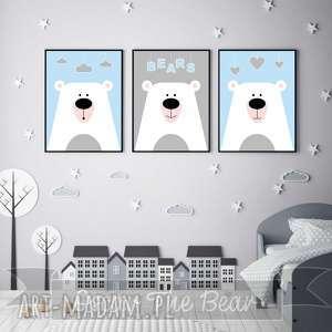 zestaw plakatów dla dzieci słodkie misie a4, miś, misie, niebieskie, plakaty