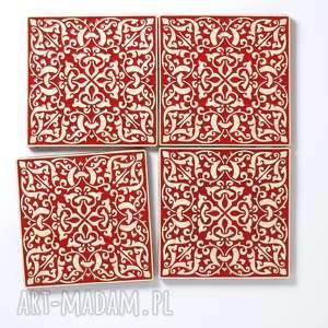 Kafle xl adagio, czerwone ceramika pracowniazona dekory, kafle