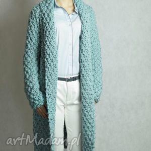 turquoise Chunky, sweter, gruby, płaszcz, druty, kardigan