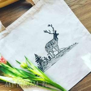 jeleń na rykowisku torba bawełniana ręcznie malowana, torba, bawełniana