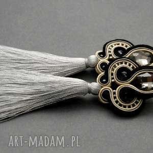 szaro-czarne kolczyki sutasz z chwostami, sznurek, eleganckie, wiszące, wieczorowe