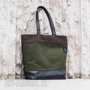 torba canvas khaki shopper, pojemna torba, styl militarny, wytrzymała