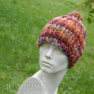 ręcznie zrobione czapki mega grubas merino alpaca bardzo ciepła zimowa