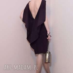 Koktajlowa sukienka / fioletowa - SCARLETT, sukienka-z-falbaną, falbany
