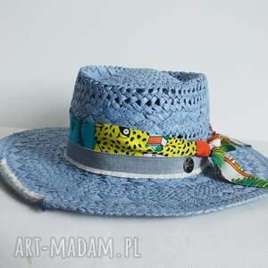 hand made czapki kapelusz blue