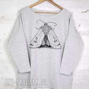 bluzki ćma bluzka oversize bawełniana szara l/xl, bluzka, bluza, szara, nadruk