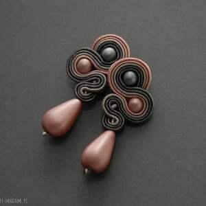 sisu szaro-różowe klipsy sutasz, sznurek, wiszące, pudrowe, eleganckie