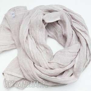 hand-made szaliki lniany szal chusta w kolorze popielatym gołębim, modny elegancki