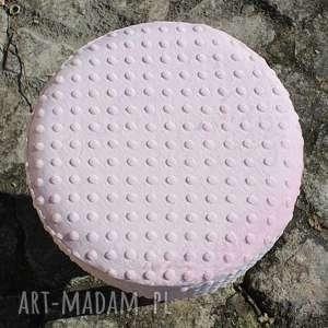 ręcznie wykonane pokrowiec na puf różowe minky