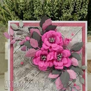 święta, różowo-szara, kartka, życzenia, scrapbooking