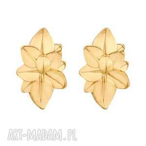 złote kolczyki duże kwiaty - eleganckie, masywne, sztyfty