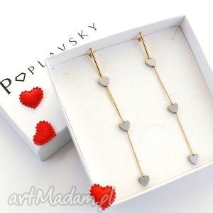 poplavsky kolczyki long hearts srebro 925 serce, kolczyki, długie