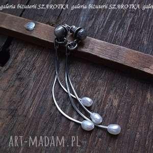 PERŁOWE DYNDADEŁKA kolczyki z naturalnych pereł i srebra, perła, naturalna