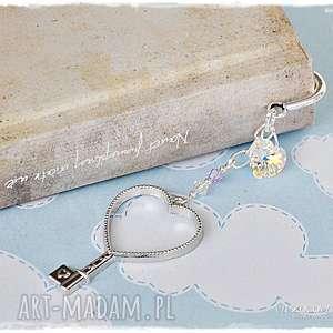 Prezent Srebrny Klucz - zakładka z kryształami Swarovskiego, zakładka, prezent