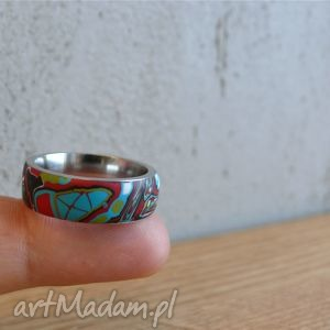 mozaikowa obrączka - obrączki, pierścionki, stal, turkusowy, kolorowe
