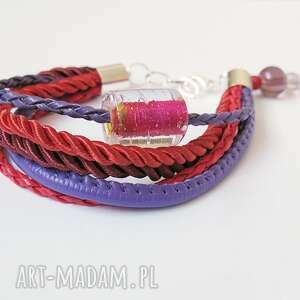 bransoletka - fiolet, czerwień rzemienie, bransoletka, sznurki