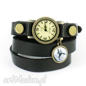 zegarki bransoletka, zegarek - czarny smok czarny, skórzany, bransoletka