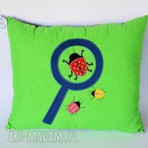 poduszka z lupą i owadami - poduszka, żuk, aplikacja, chłopczyk, owady