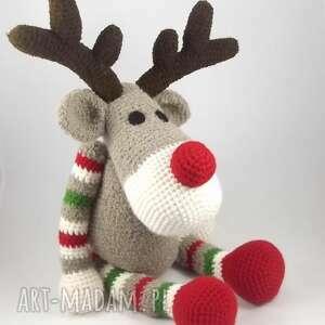 rudolf - szydełkowy renifer, świąteczna dekoracja, maskotka na święta
