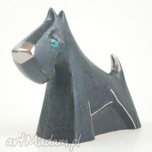 sznaucer - pies na biżuterię - ceramika, figurki
