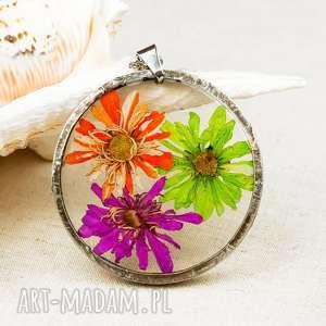 Prezent z54 Naszyjnik z suszonymi kwiatami, Herbarium Jewelry, kwiaty w żywicy