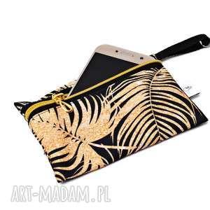 handmade etui na klucze saszetka telefon wodoodporne złote liście, do torebki