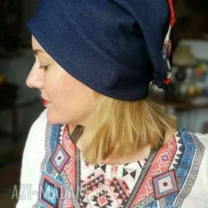 Czapka wiosenna uniwersalna damska boho z koronką czapki ruda