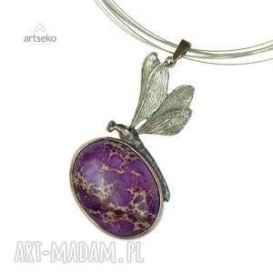 Prezent a612 Ważka z fioletowym jaspisem cesarskim srebro, naszyjnik-z-ważką