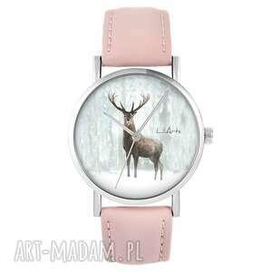 Zegarek - jeleń 3 pudrowy róż, skórzany zegarki liliarts