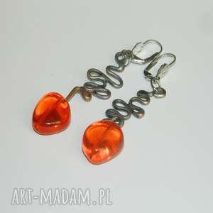 Pomarańczowe kolczyki esterka kolczyki, szkło, unikatowa