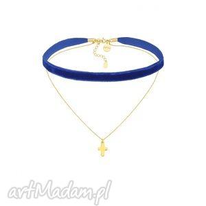 sotho kobaltowy aksamitny choker z łańcuszkiem zdobionym krzyżykiem, modny