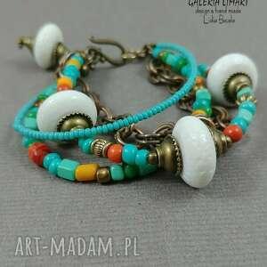 biała lawa i mnóstwo koloru urocza, bajecznie kolorowa bransoletka unikat
