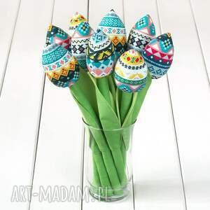 Prezent TULIPANY folkowy bawełniany bukiet, tulipany, kwiaty, prezent