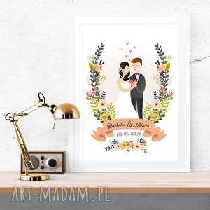 ślub obraz pary młodej - portret ilustracja 30x40