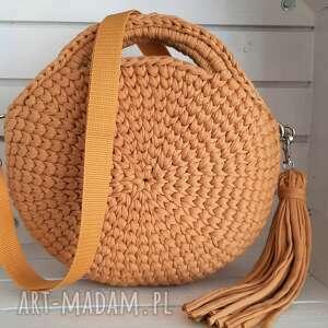 na ramię szydełkowa damska torebka okrągła, damska, torba, shopperka
