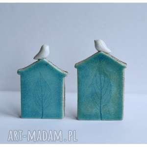 Zestaw dwóch domków zimowych, ceramika, domek, ptak