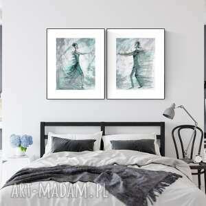 zestaw 2 obrazów 30x40 cm wykonanych ręcznie, abstrakcja, kobieta, 2610390