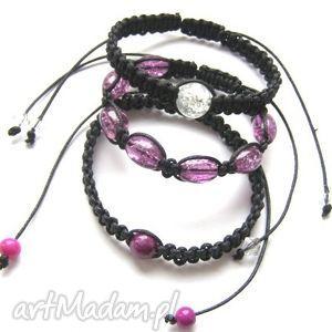violet trzy makramy fiolety, makrama, szkło, shambala