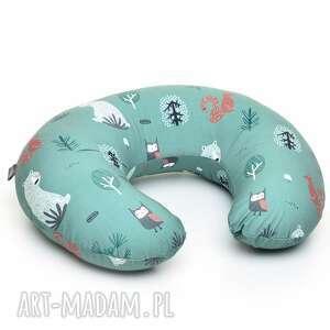 ręcznie robione dla dziecka rogal do karmienia fasolka poduszka zielony las