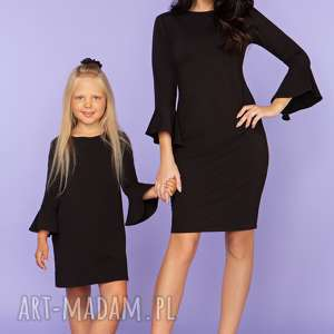 sukienki komplet dla mamy i córki, sukienka z falbanką przy rękawie, model 26, czarny