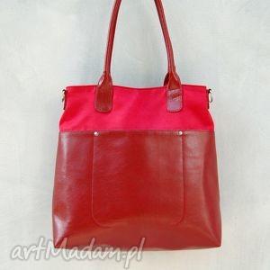 na ramię fiella - duża torba czerwona, shopper, wygodna, elegancka, duża, miejska