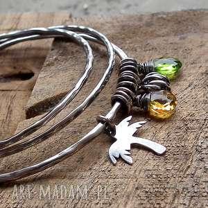 bahama - 3 bransoletki- srebro i kwarc, kolorowa, z-zawieszkami, z-charmsami